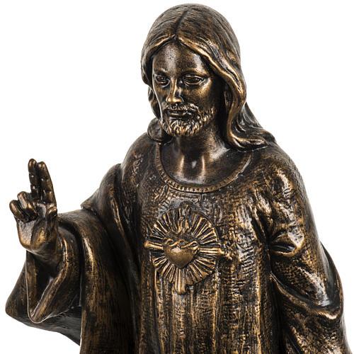 Sacro Cuore di Gesù 50 cm resina Fontanini finitura bronzo 2