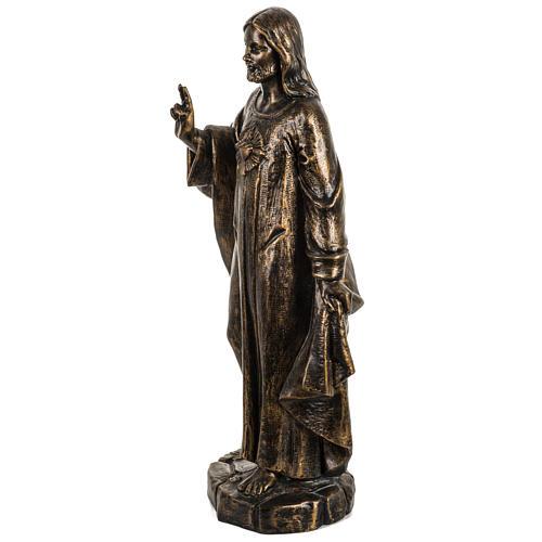Sacro Cuore di Gesù 50 cm resina Fontanini finitura bronzo 3