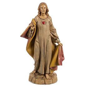 Statues en résine et PVC: Sacré Coeur de Jésus 30 cm Fontanini finition bois