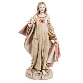 Statues en résine et PVC: Sacré coeur de Jésus 30 cm Fontanini finition porcelaine
