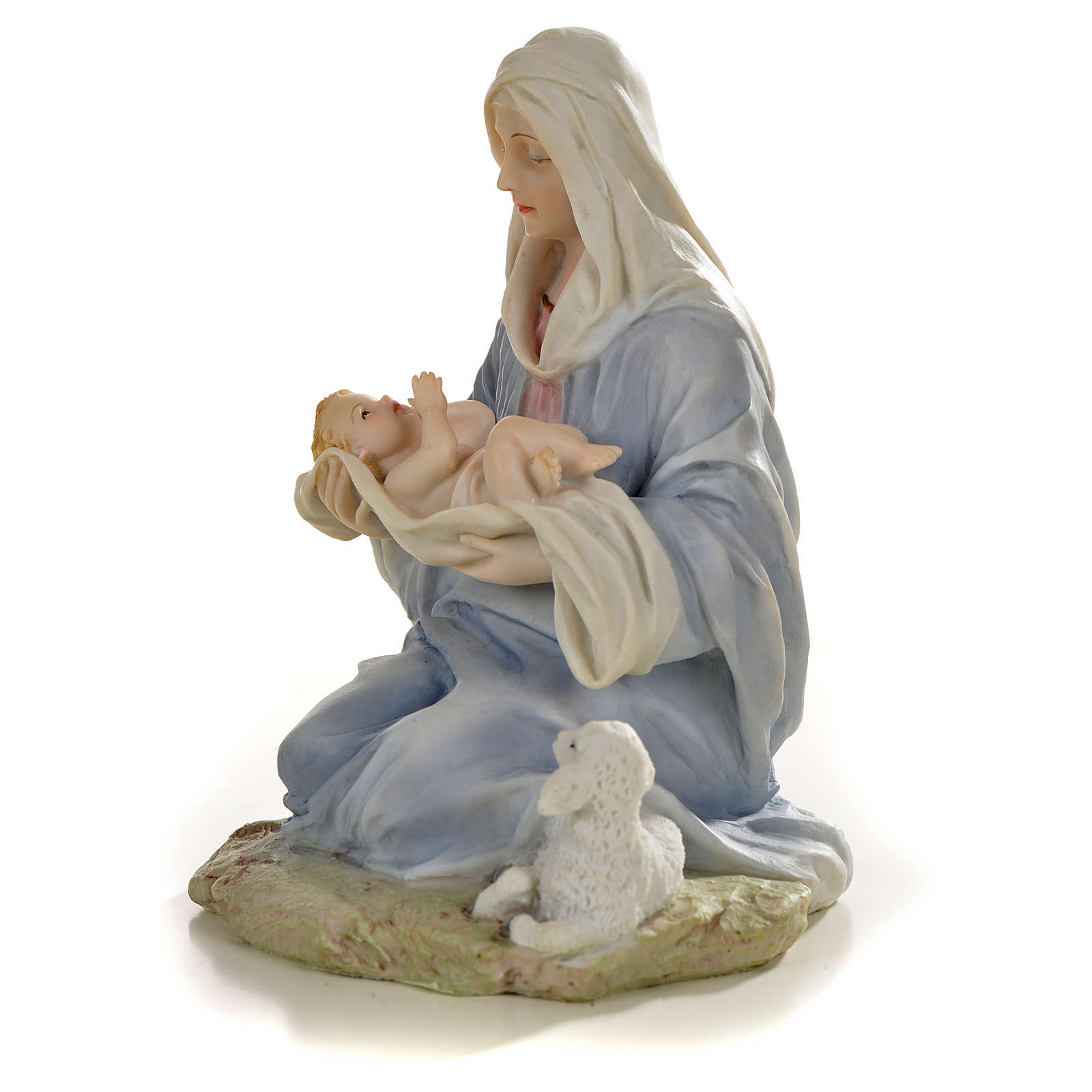 Virgin with baby statue in resin, 15cm 4