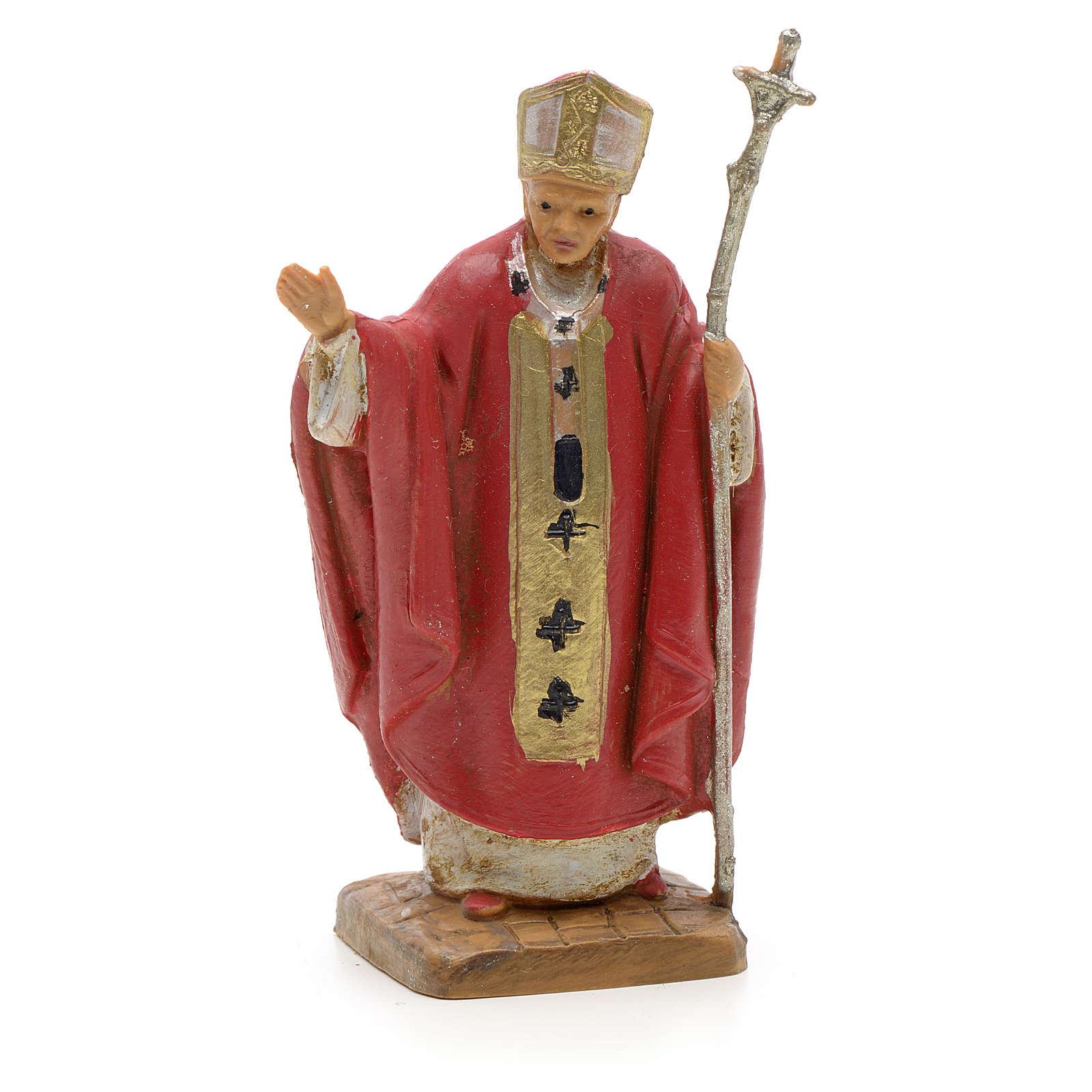 Giovanni Paolo II veste rossa 7 cm resina Fontanini 4