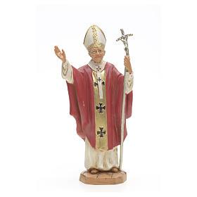 Statues en résine et PVC: Statue Jean Paul II veste rouge 18 cm Fontanini