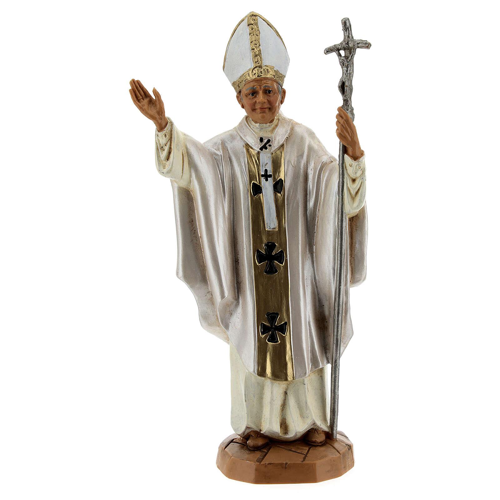 Jean Paul II veste blanche, statue 18 cm Fontanini 4