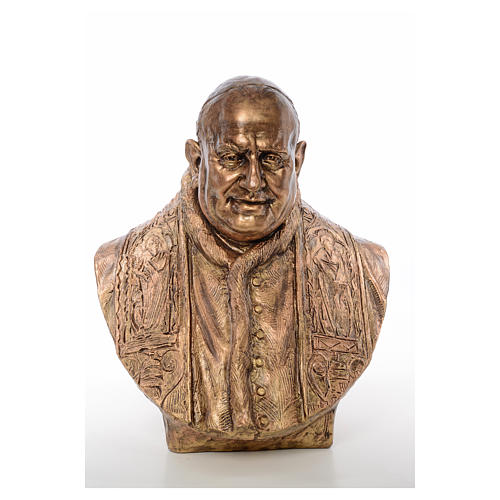 Busto Giovanni XXIII cm80 vetroresina colore bronzo Landi 1