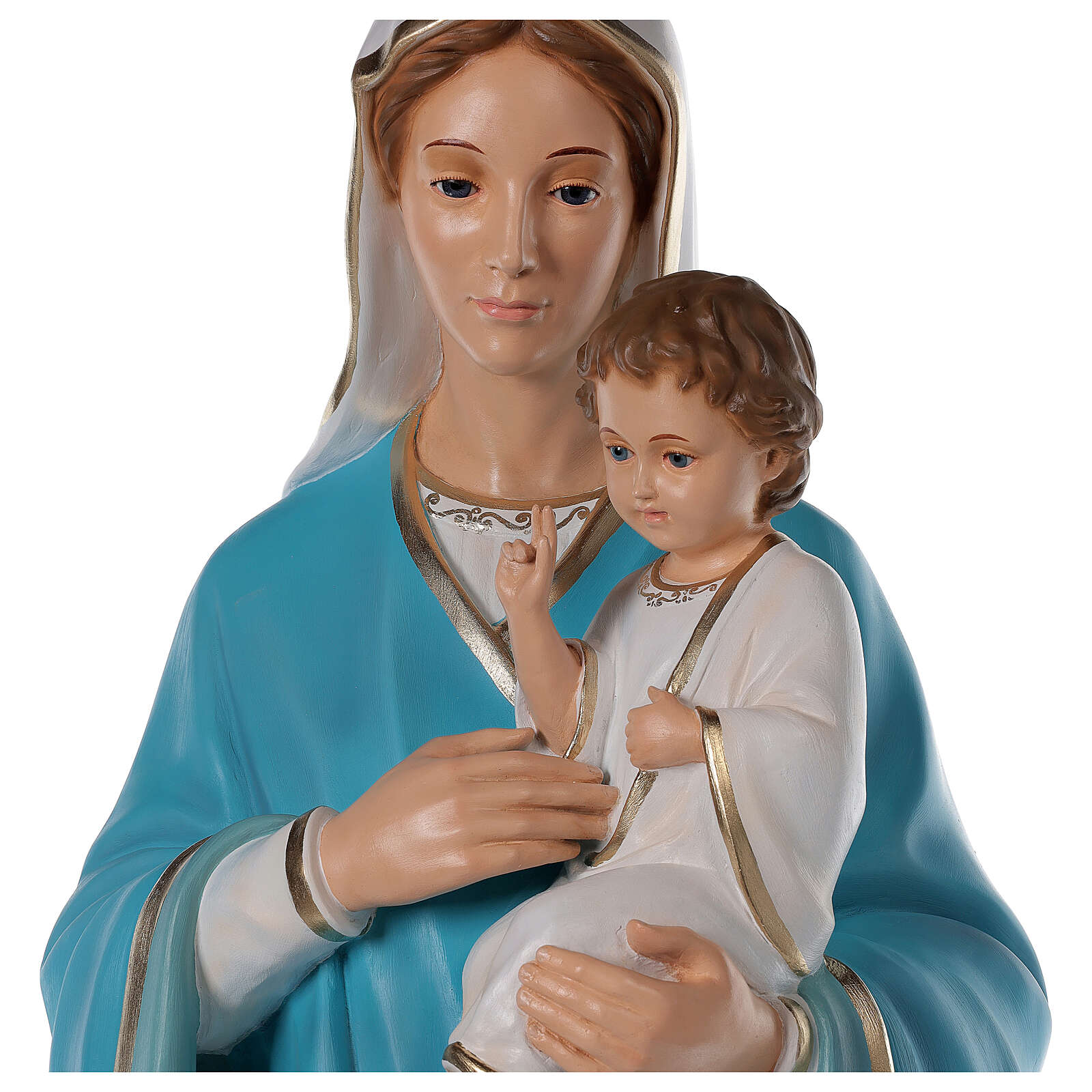 Madonna with baby Jesus statue in fiberglass, crystal eyes 125cm 4