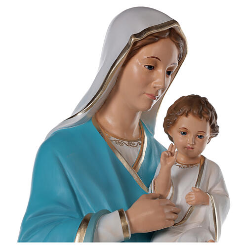 Madonna with baby Jesus statue in fiberglass, crystal eyes 125cm 6