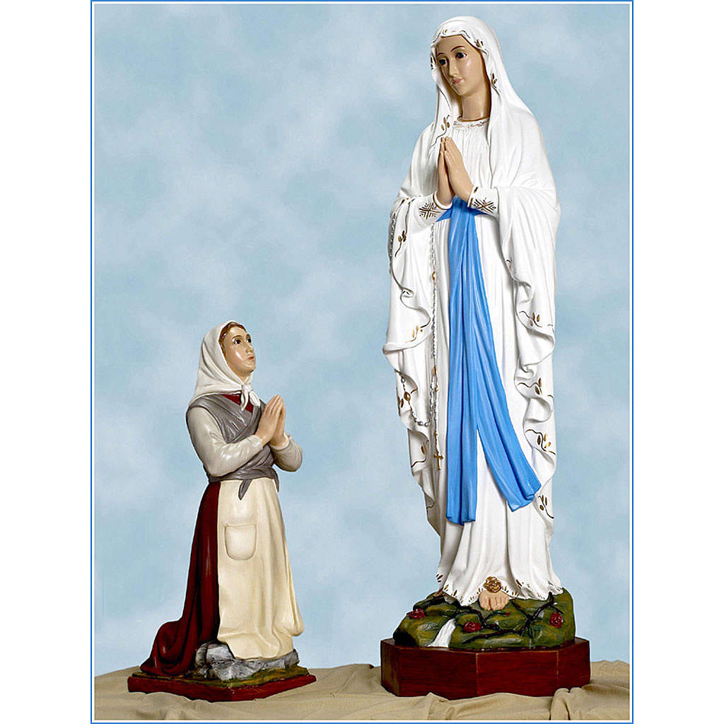 Our Lady of Lourdes and Bernadette statue in fiberglass, Landi 4
