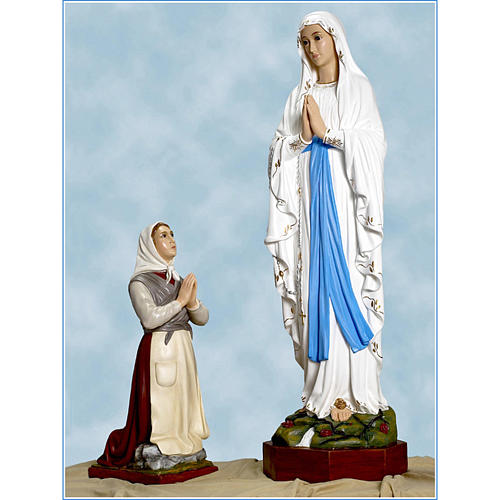 Our Lady of Lourdes and Bernadette statue in fiberglass, Landi 1