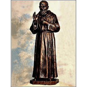 Padre Pio statue in fiberglass, bronze colour, 175 cm by Landi s1