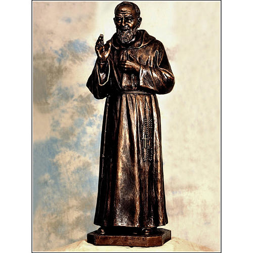 Padre Pio statue in fiberglass, bronze colour, 175 cm by Landi 1