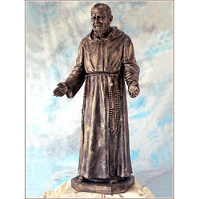 Padre Pio vetroresina Landi 150 cm bronzo PER ESTERNO s2