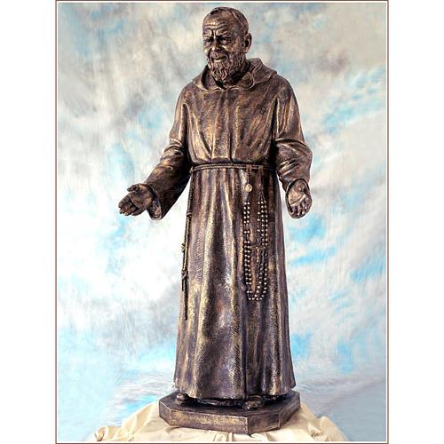 Padre Pio vetroresina Landi 150 cm bronzo PER ESTERNO 2
