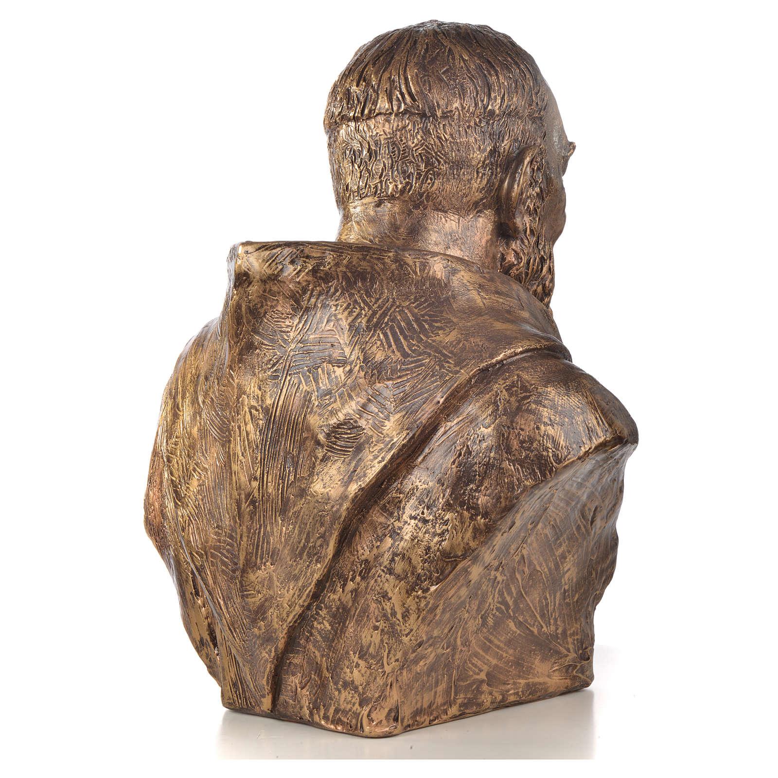 Popiersie Święty Pio włókno szklane Landi 60 cm brąz 4