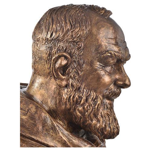 Popiersie Święty Pio włókno szklane Landi 60 cm brąz 3