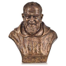 Padre Pio of Pietralcina bust in fiberglass, bronze, 60 cm Landi s1