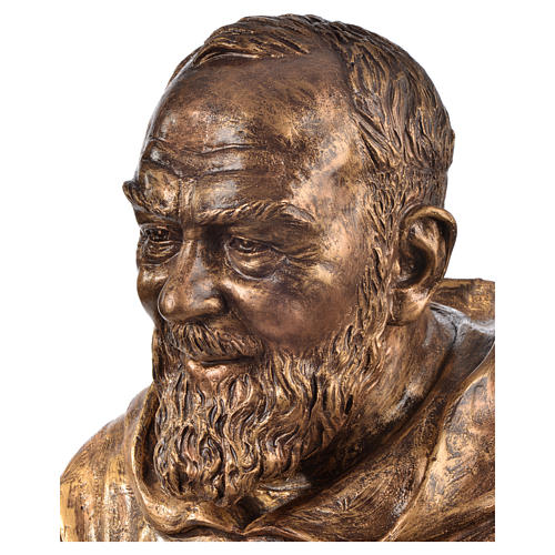 Padre Pio of Pietralcina bust in fiberglass, bronze, 60 cm Landi 2