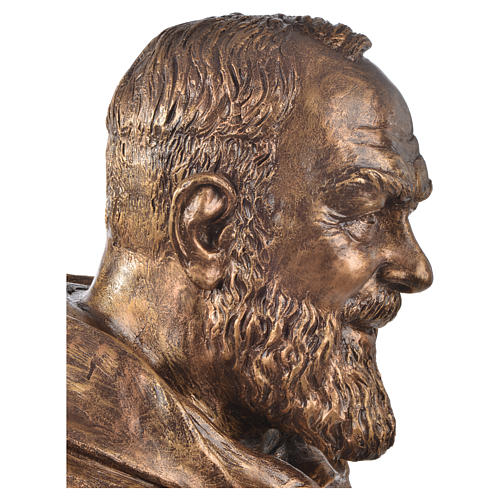 Padre Pio of Pietralcina bust in fiberglass, bronze, 60 cm Landi 3
