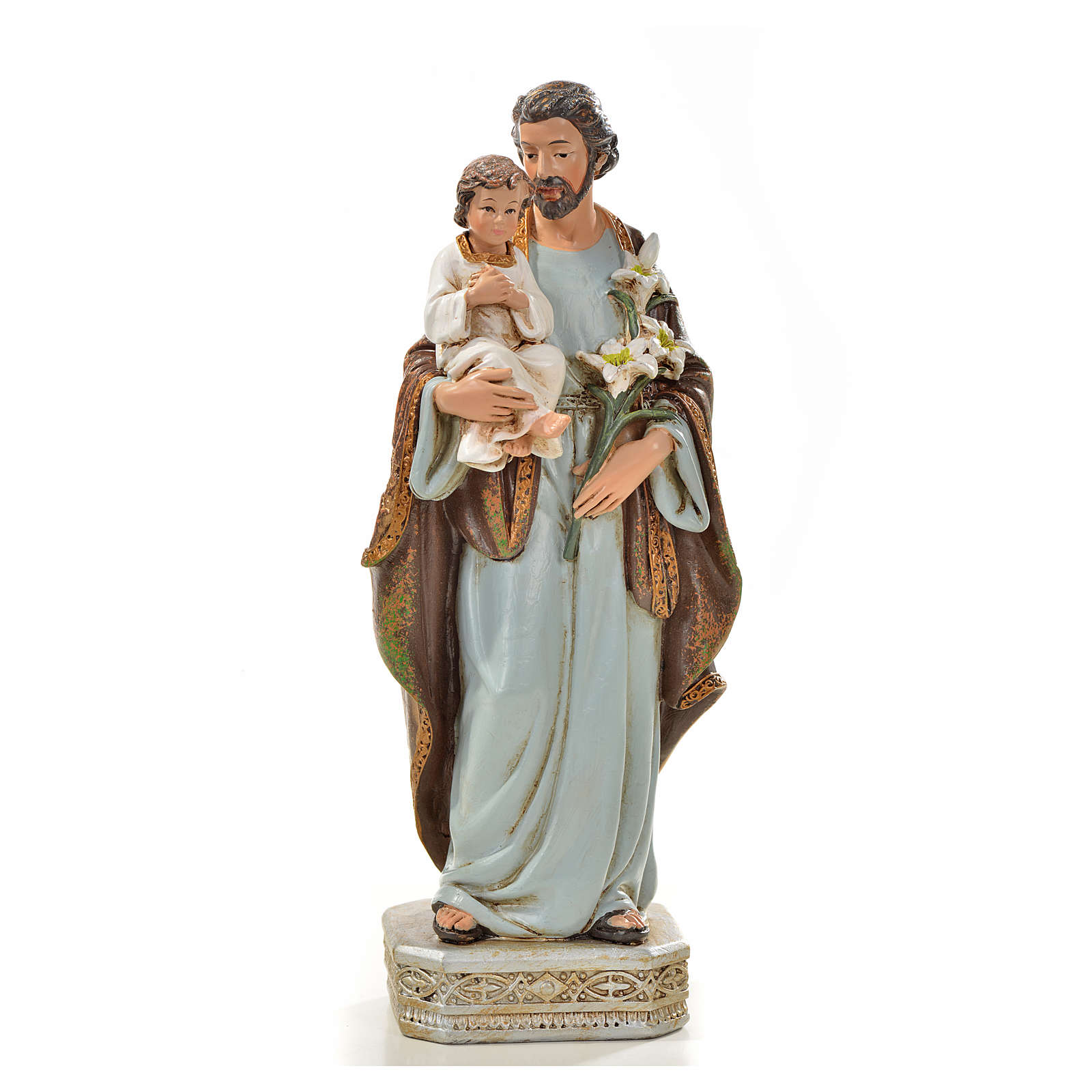Saint Joseph à l'enfant 20 cm en résine 4