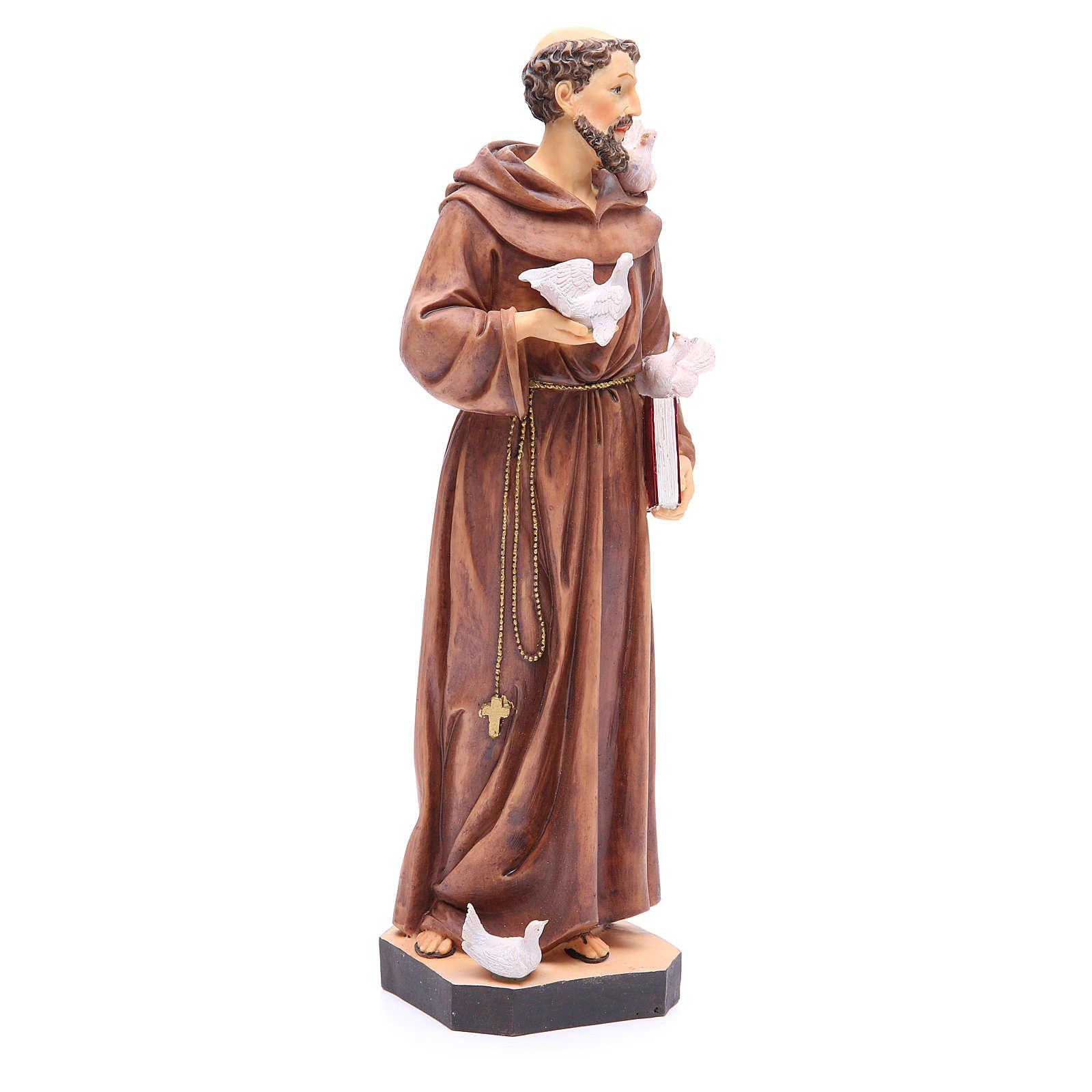 Statue St François 40 cm résine colorée avec base 4