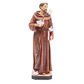Statue St François 40 cm résine colorée avec base s1