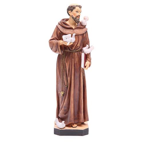 Statue St François 40 cm résine colorée avec base 1
