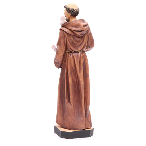 Statue St François 40 cm résine colorée avec base 3