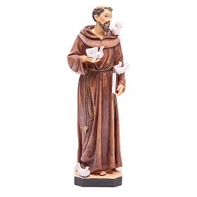 Saint Francis statue 40 cm in coloured resin with base s1
