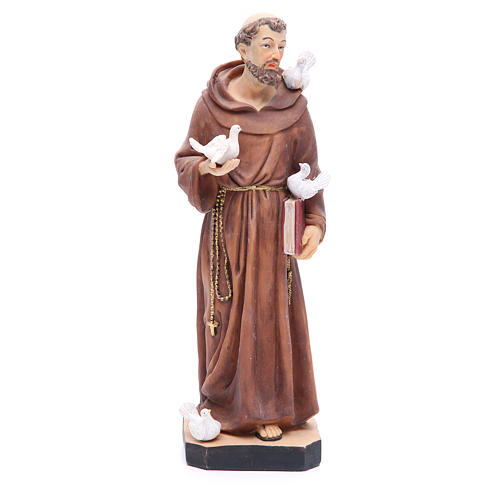 Saint Francis statue 30 cm in coloured resin 1