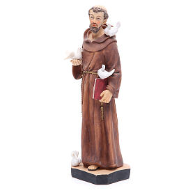 Saint Francis statue 30 cm in coloured resin s2