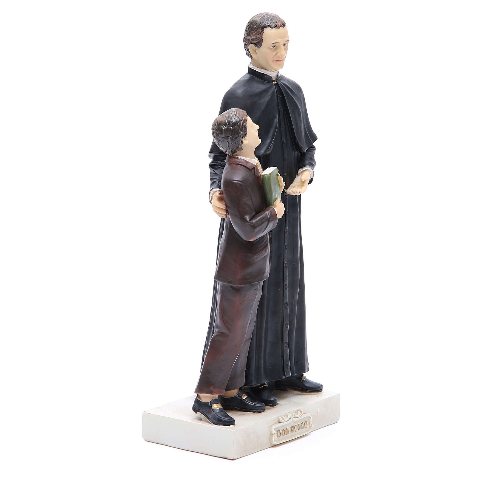 Estatua Don Bosco y San Domenico Savio 30 cm resina 4