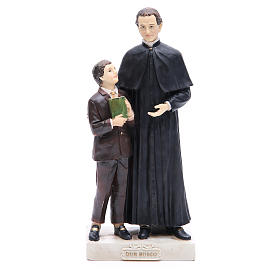 Estatua Don Bosco y San Domenico Savio 30 cm resina s1