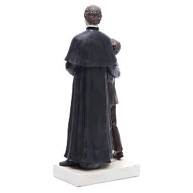 Estatua Don Bosco y San Domenico Savio 30 cm resina s3