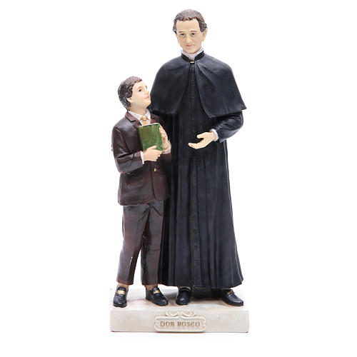 Estatua Don Bosco y San Domenico Savio 30 cm resina 1