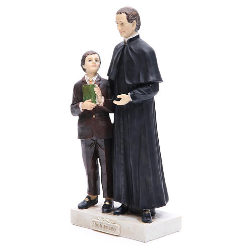 Estatua Don Bosco y San Domenico Savio 30 cm resina 2