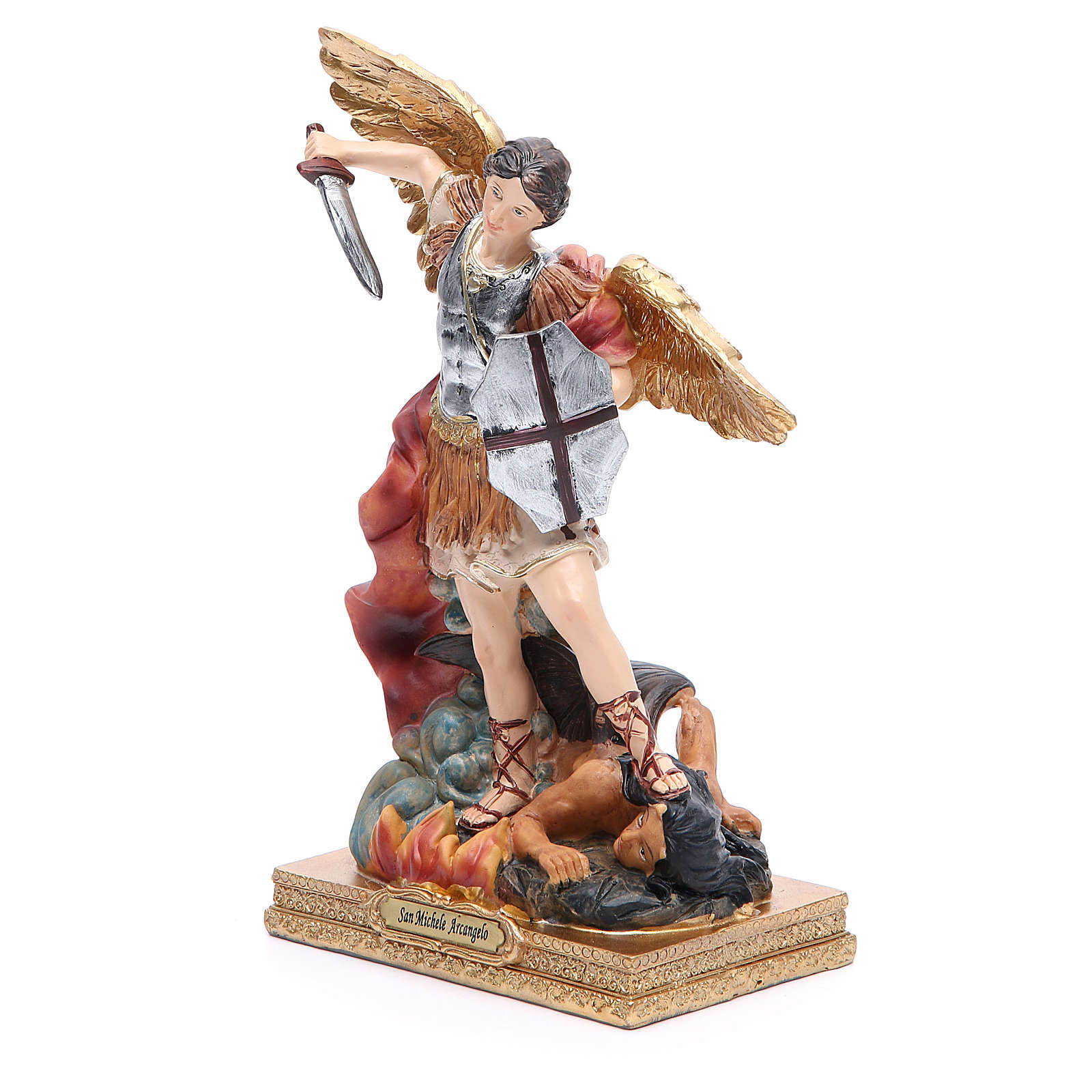 Estatua San Miguel 22 cm resina colorada 4