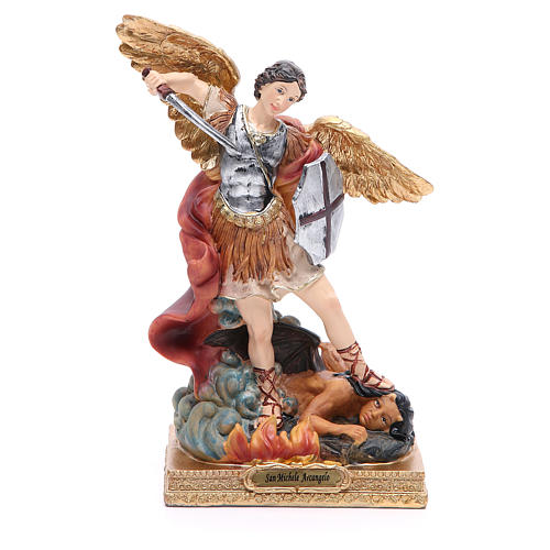 Estatua San Miguel 22 cm resina colorada 1