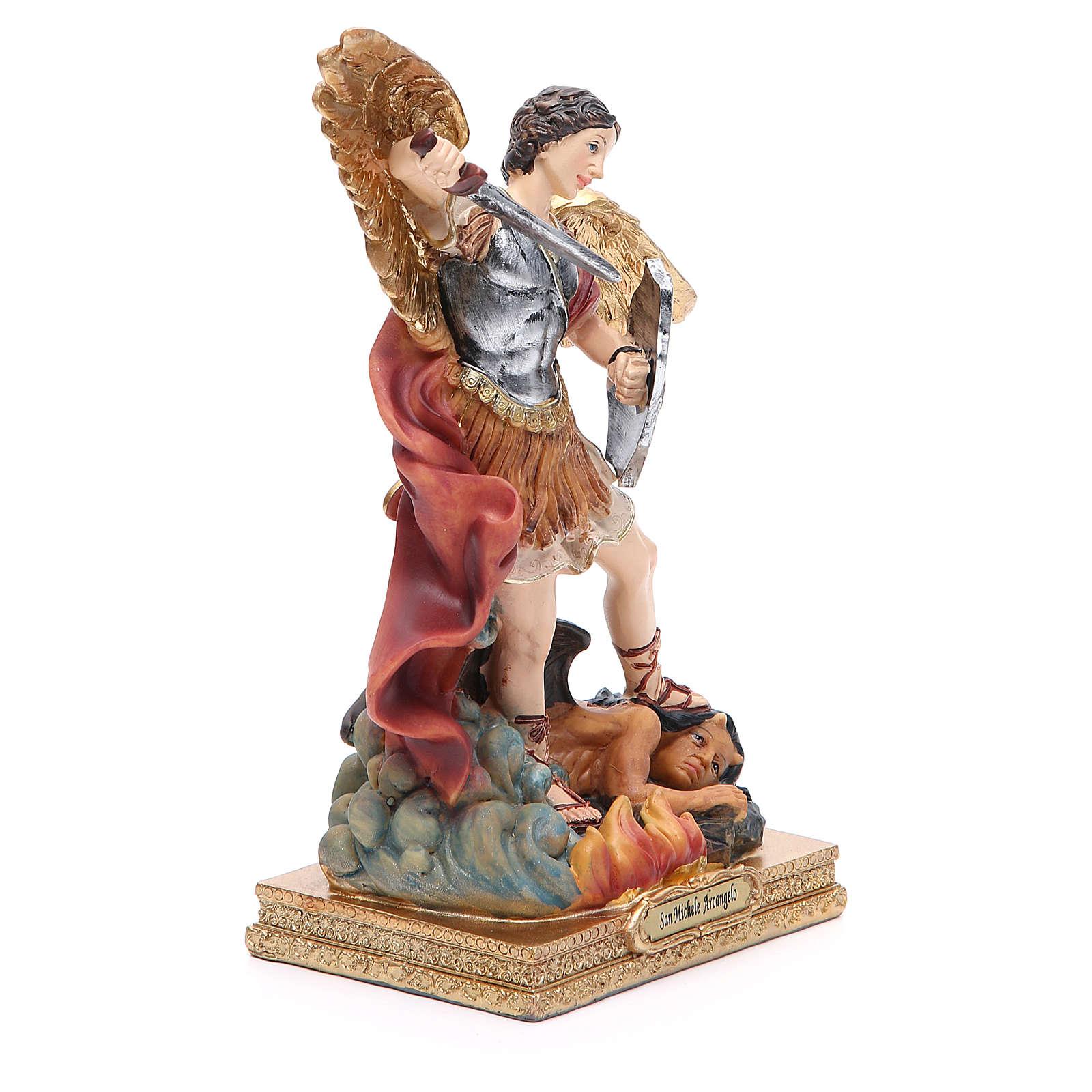Statuette Saint Michel 22 cm résine colorée 4
