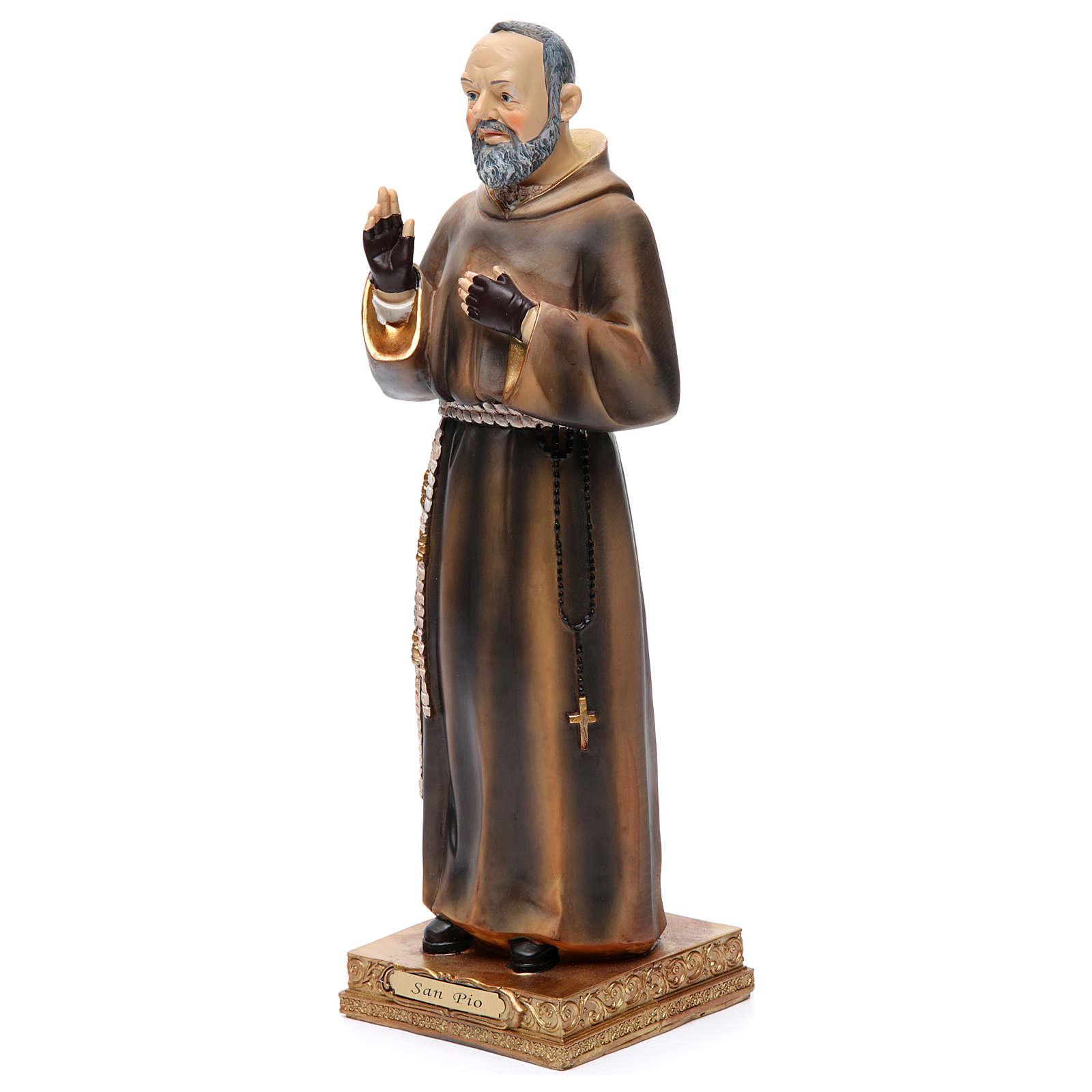 Padre Pío de Pietrelcina 32,5 cm resina pintada 4