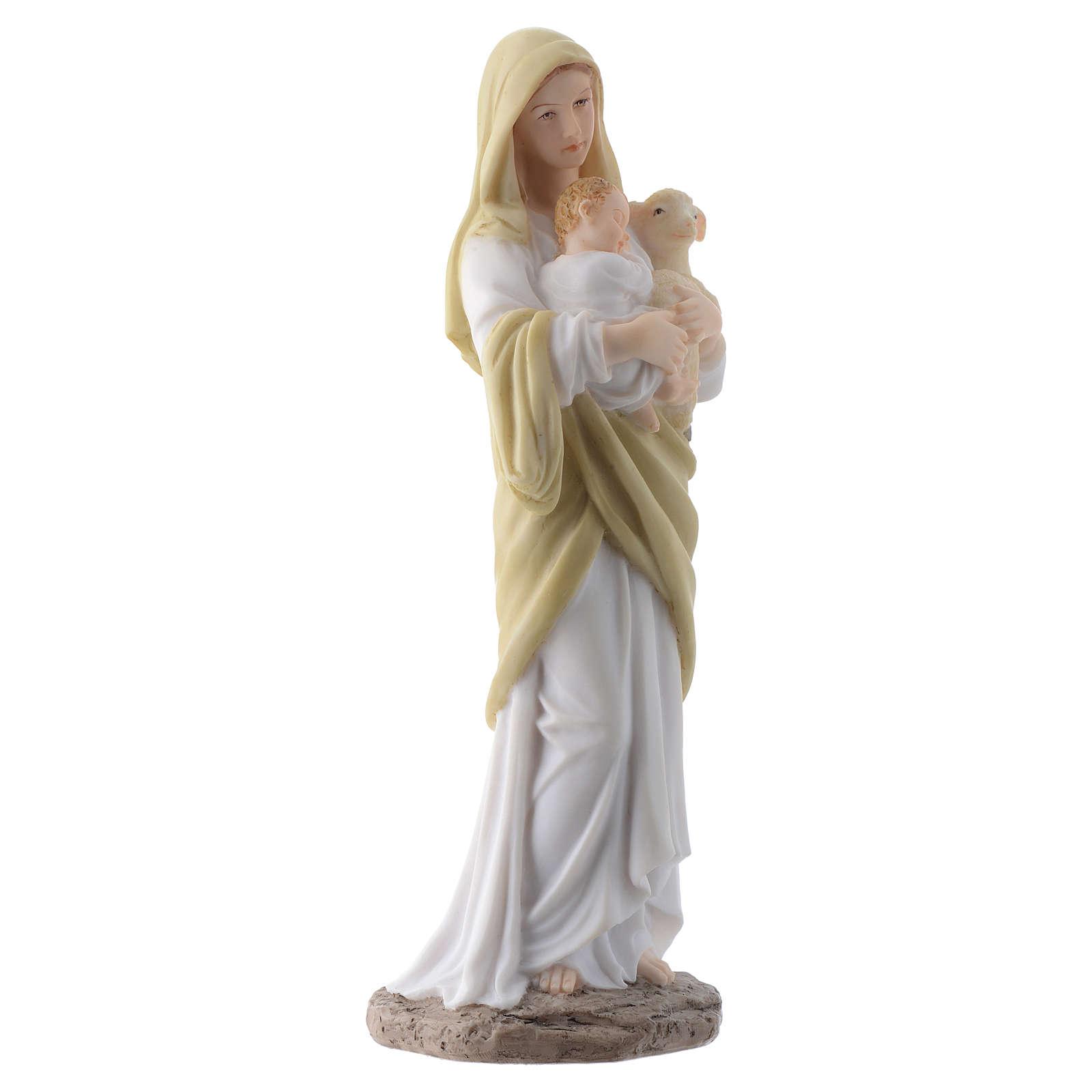 Vergine con bambino 20 cm in resina 4