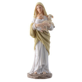 Vergine con bambino 20 cm in resina s1
