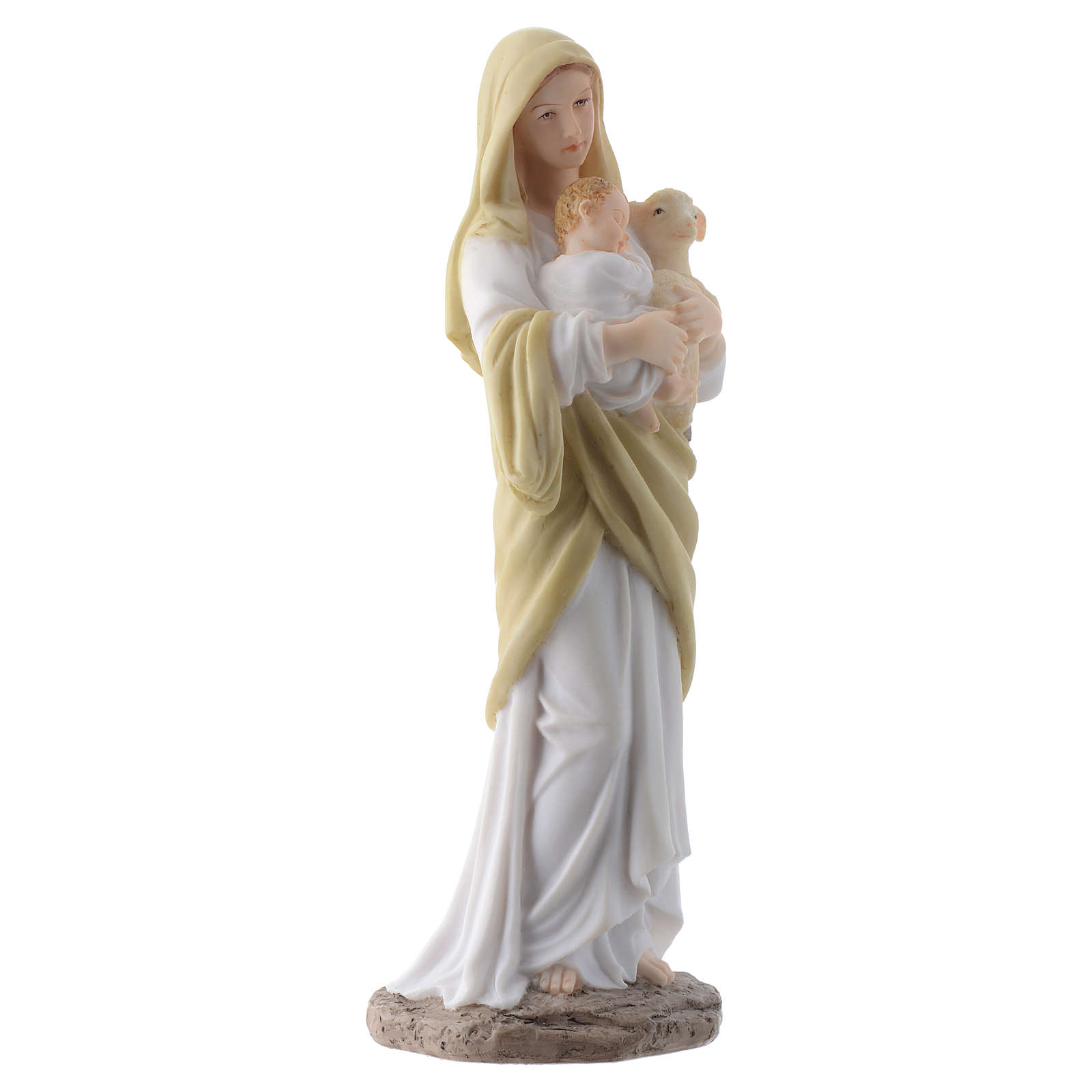 Our Lady with Baby Jesus 20 cm in resin 4