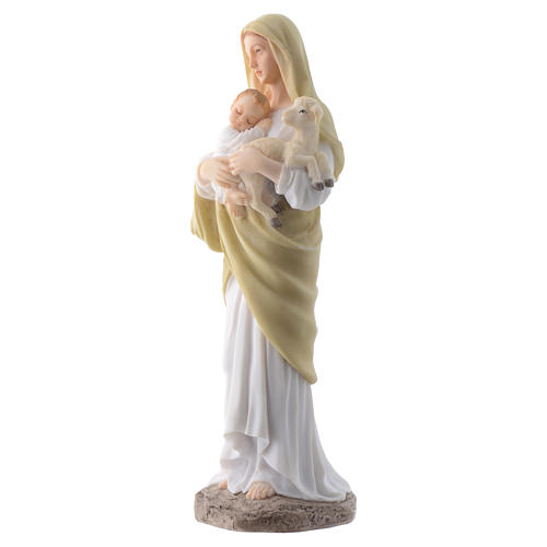 Our Lady with Baby Jesus 20 cm in resin 2