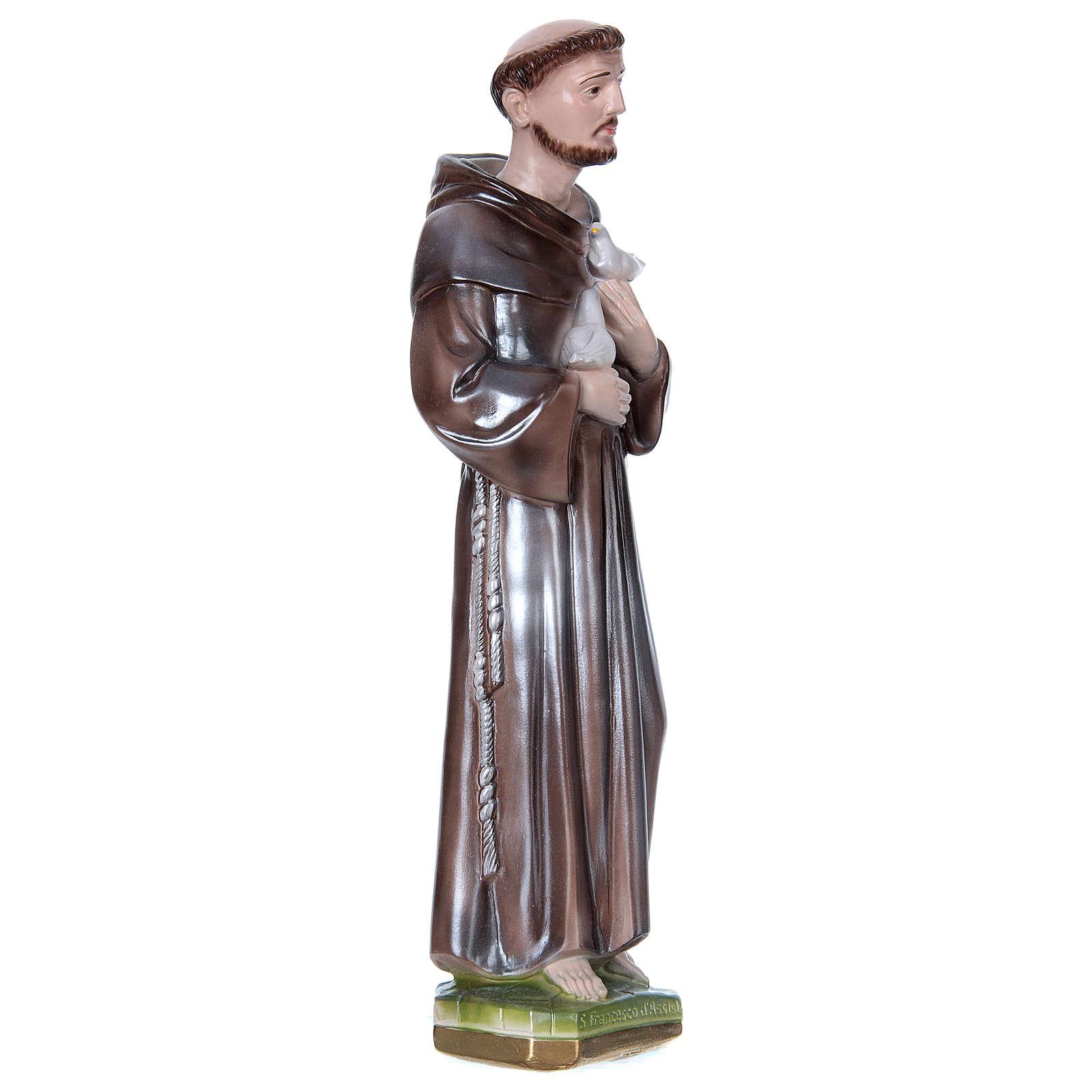 San Francesco d'Assisi gesso madreperlato 40 cm 4