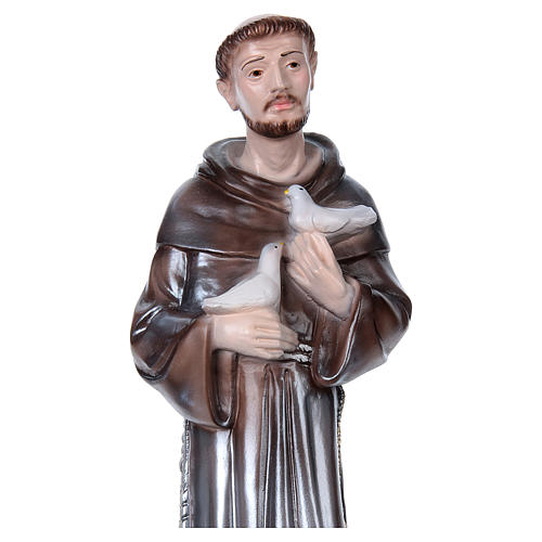 San Francesco d'Assisi gesso madreperlato 40 cm 2