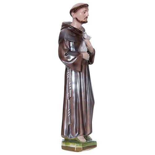 San Francesco d'Assisi gesso madreperlato 40 cm 3