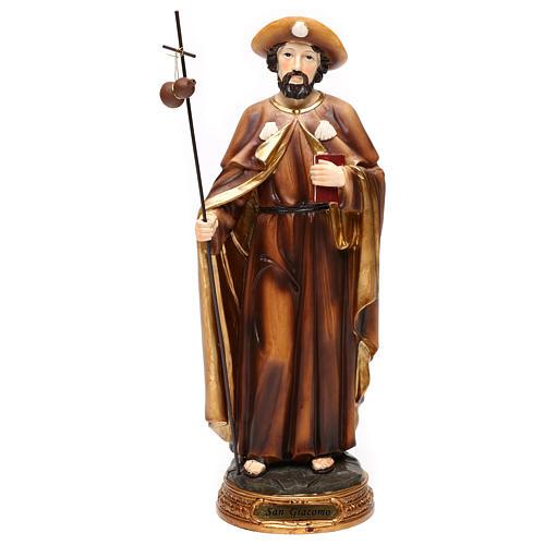 Statue Saint Jacques apôtre 30 cm résine colorée 1
