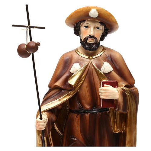 Statue Saint Jacques apôtre 30 cm résine colorée 2