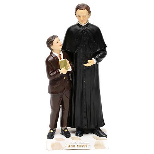 Statue en résine Don Bosco et Don Savio h 20 cm 1