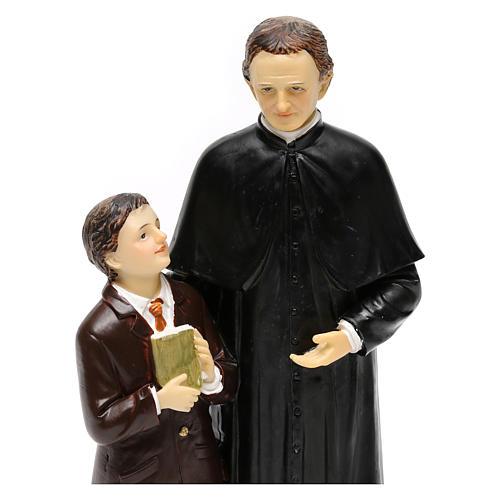 Statue en résine Don Bosco et Don Savio h 20 cm 2